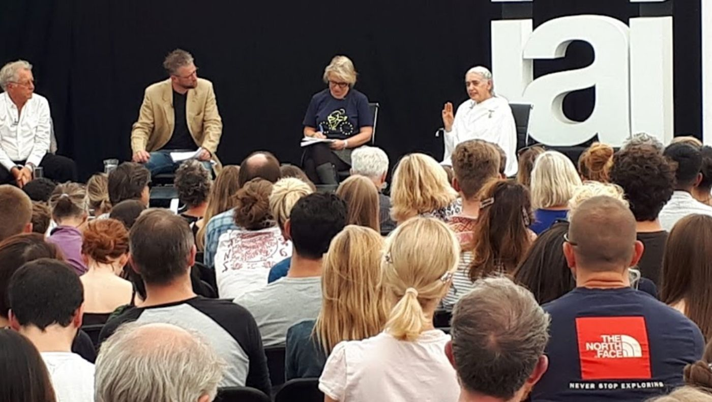 Sister Jayanti speaking on 'Modern Crises, Ancient Gods' at the How The Light Gets In Festival, Hampstead, 2019